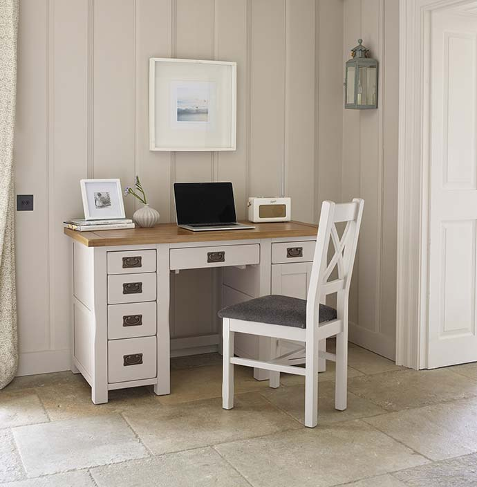 kemble office desk and chair with art