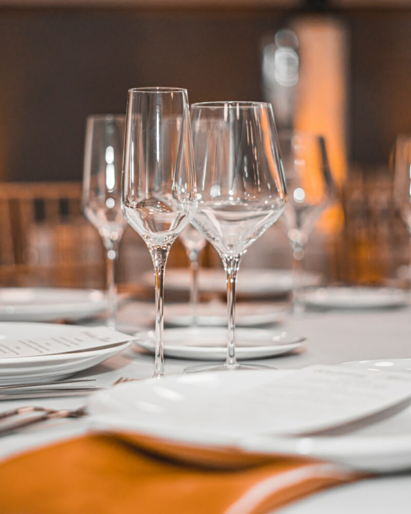 wine glasses on dining table