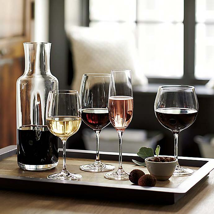 wine glasses on coffee table cart