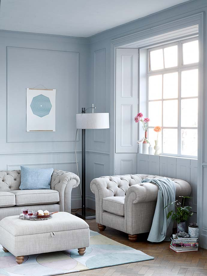 chesterfield sofa in muted colour palette room