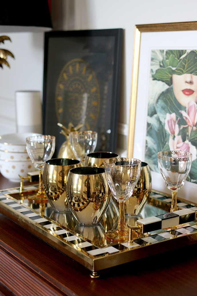 vintage glassware interiors by swoonworthy blog