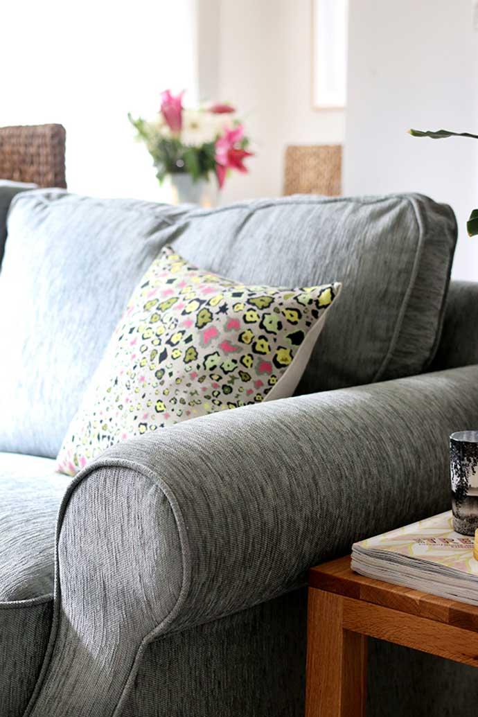 oak furniture land sofa in renovated home