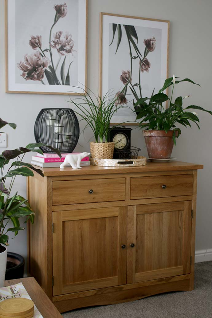 natural solid oak sideboard in redecorated home