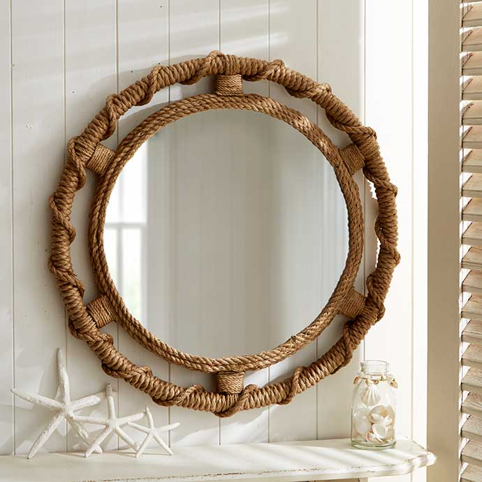 large woven rope round mirror