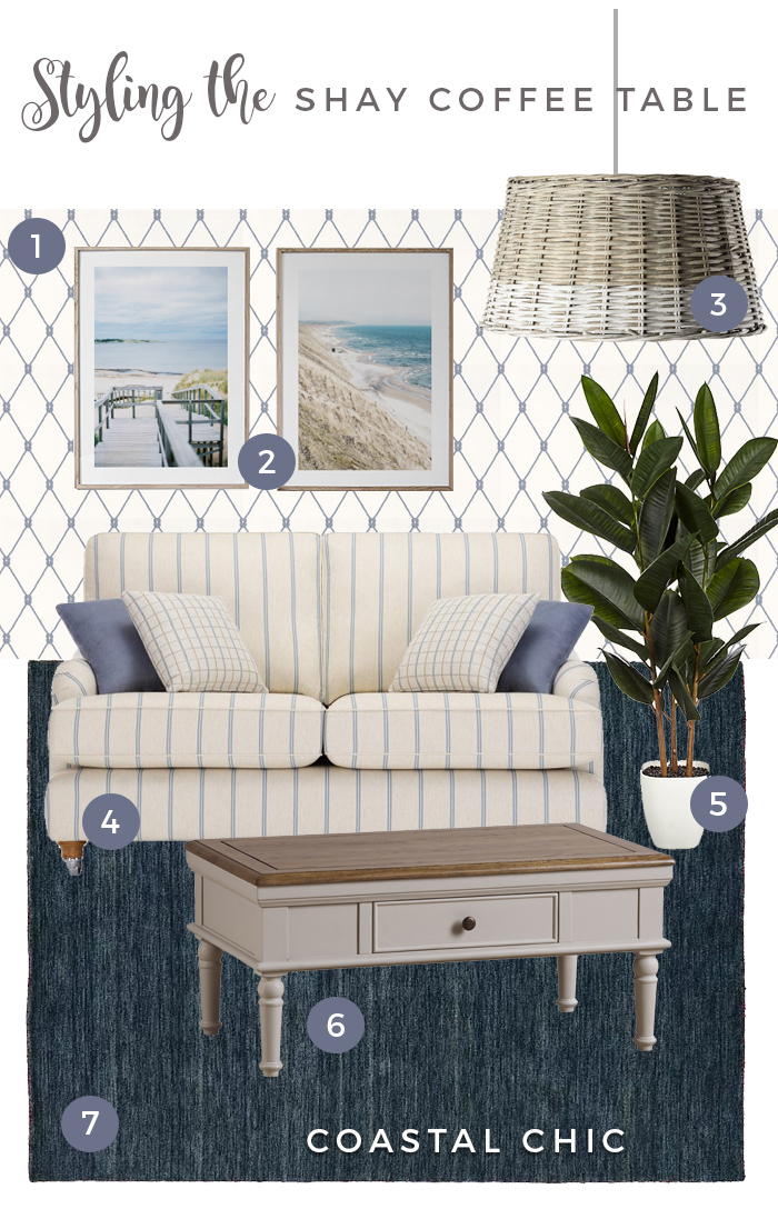 styling the shay coffee table in a coastal chic style