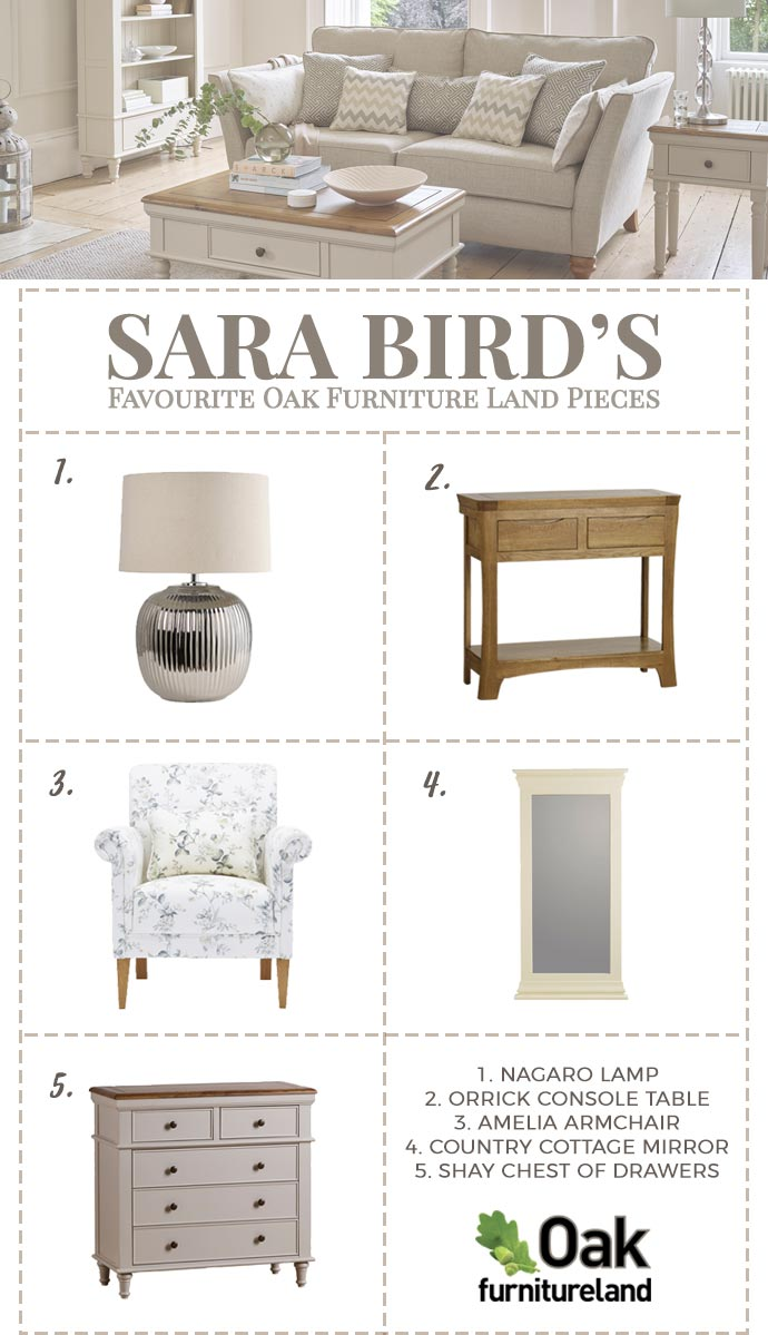 sara bird's favourites from oak furniture land