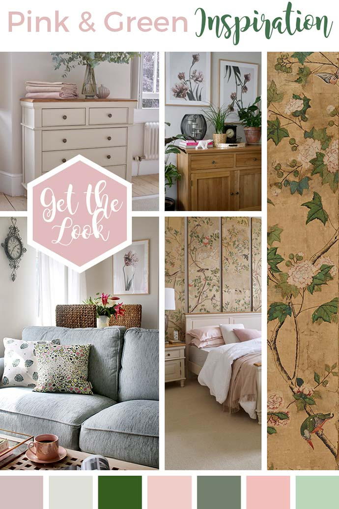 pink and green interior design moodboard