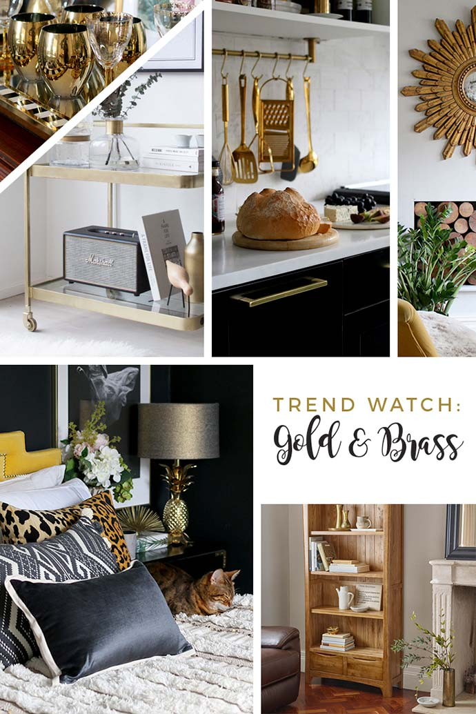 brass and gold interior design trend moodboard