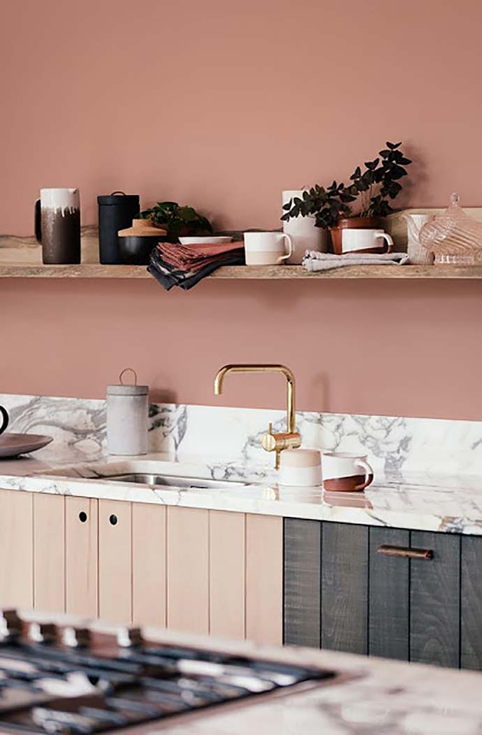 pink walls acting as neutral in interior design