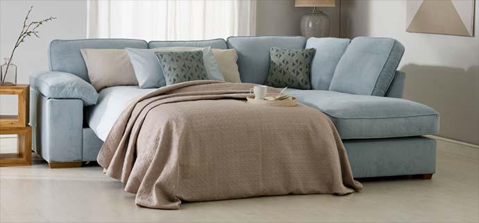 blue fabric sofa bed