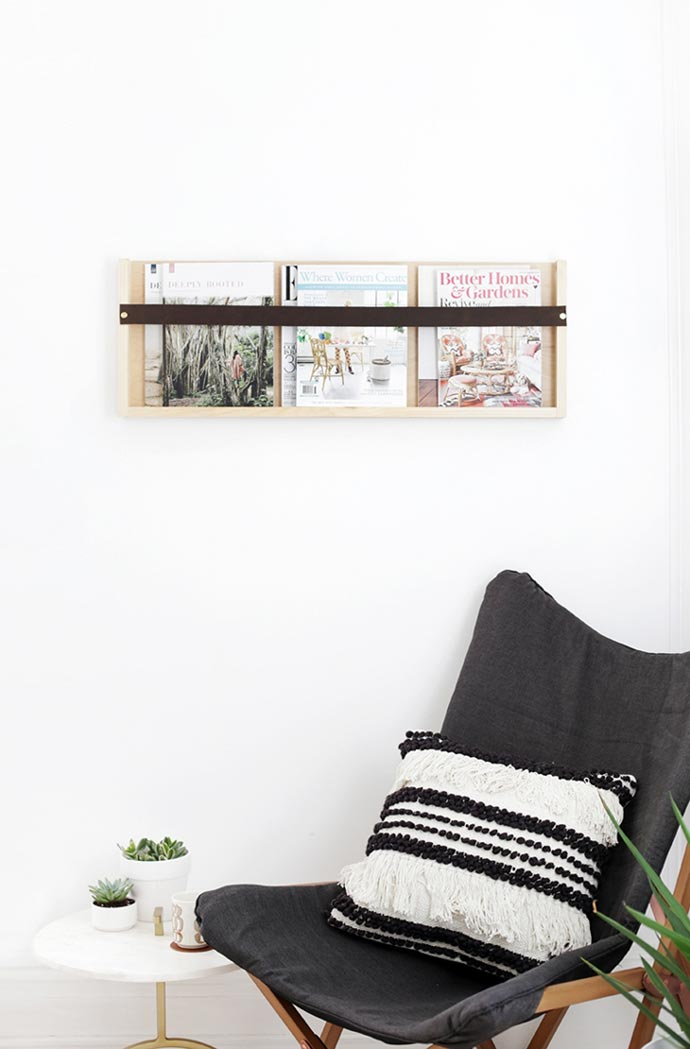 leather and wood magazine shelf DIY