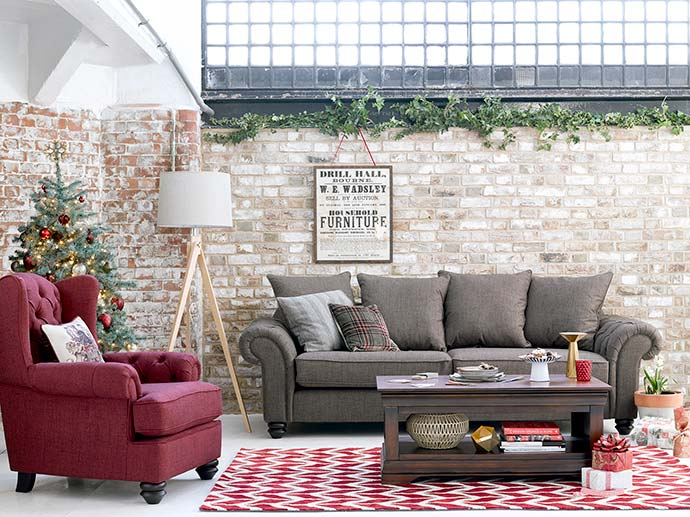 modern christmas themed living room