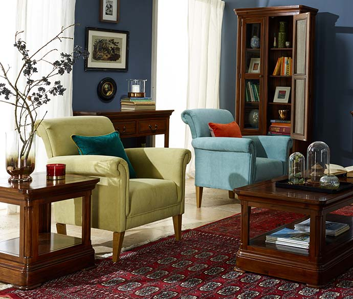 coloured accent armchairs in living room