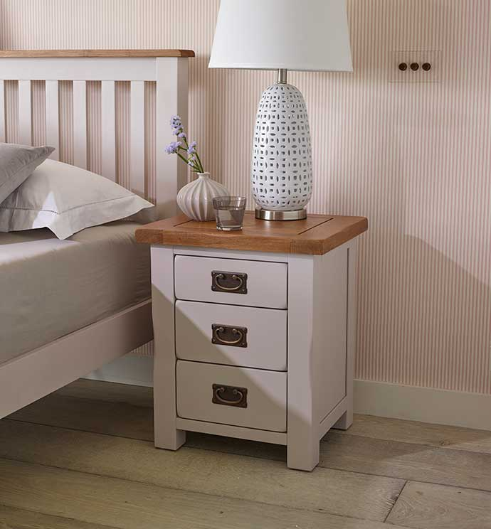 kemble solid oak painted bedside table