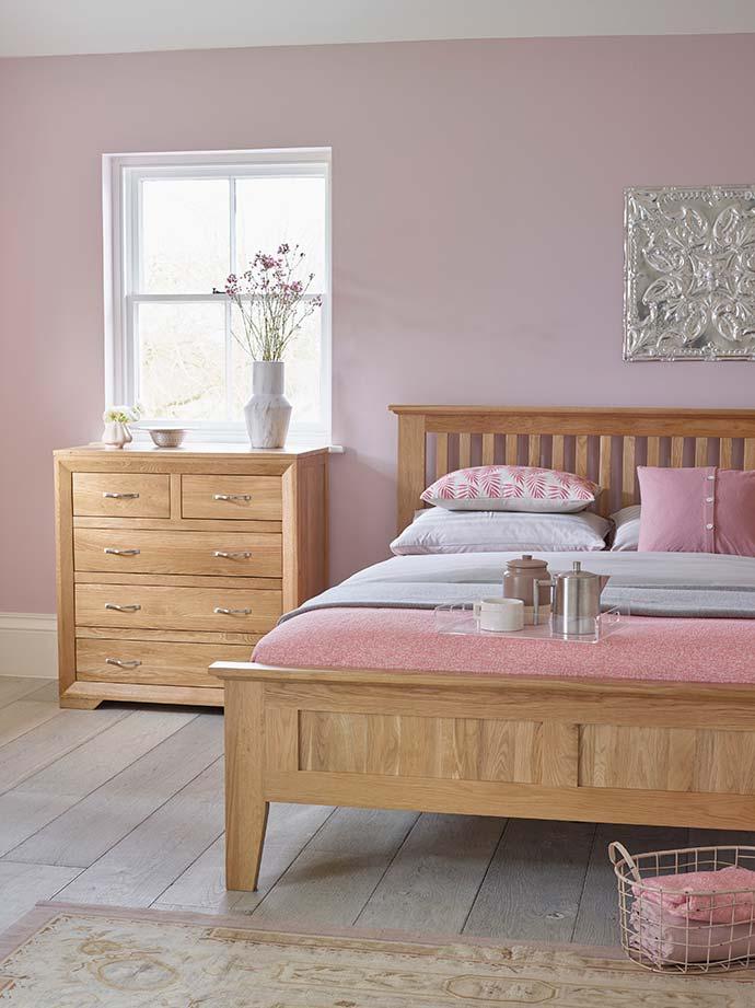 bevel bedroom in blush