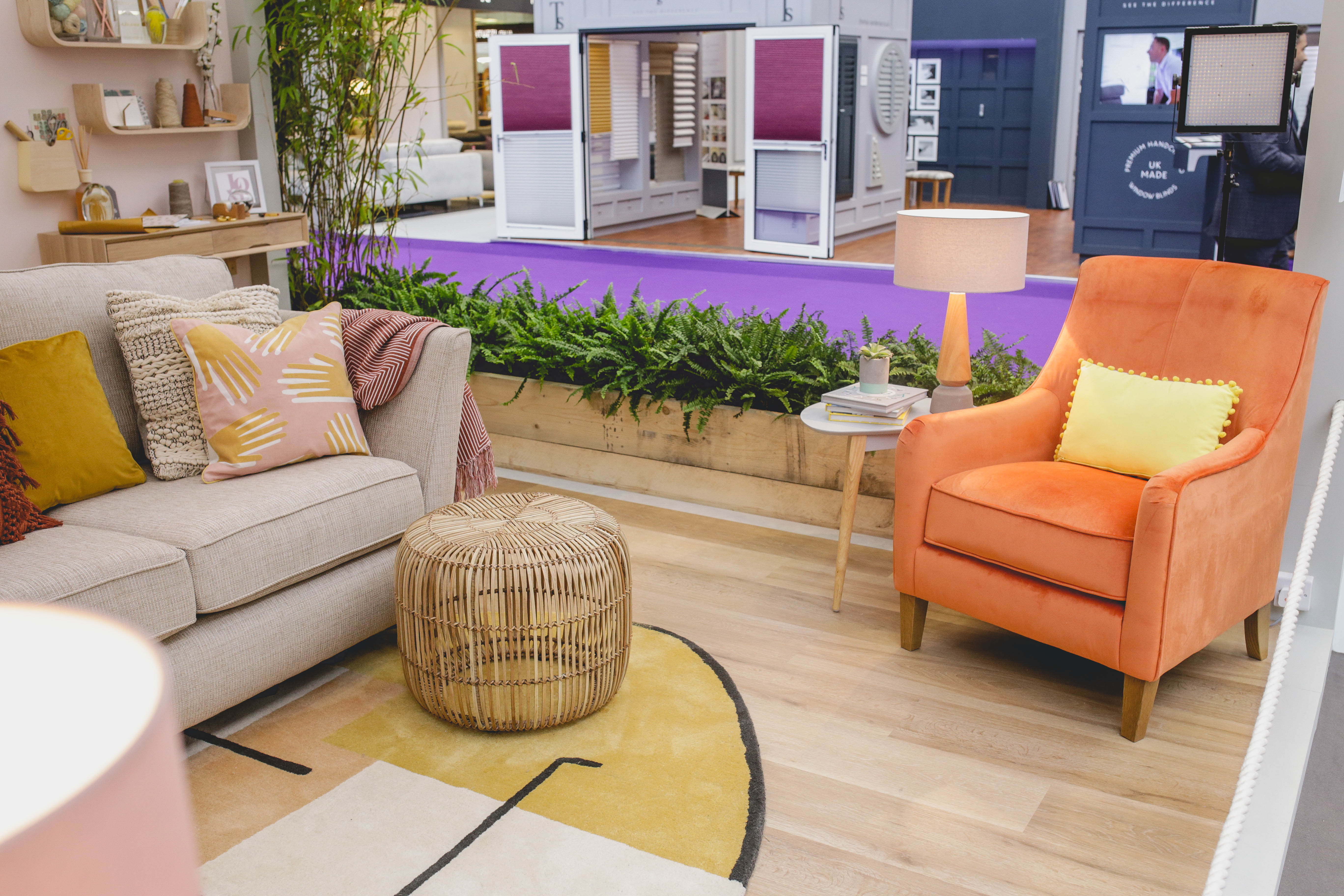 Orange accent chair at ideal home show 2018