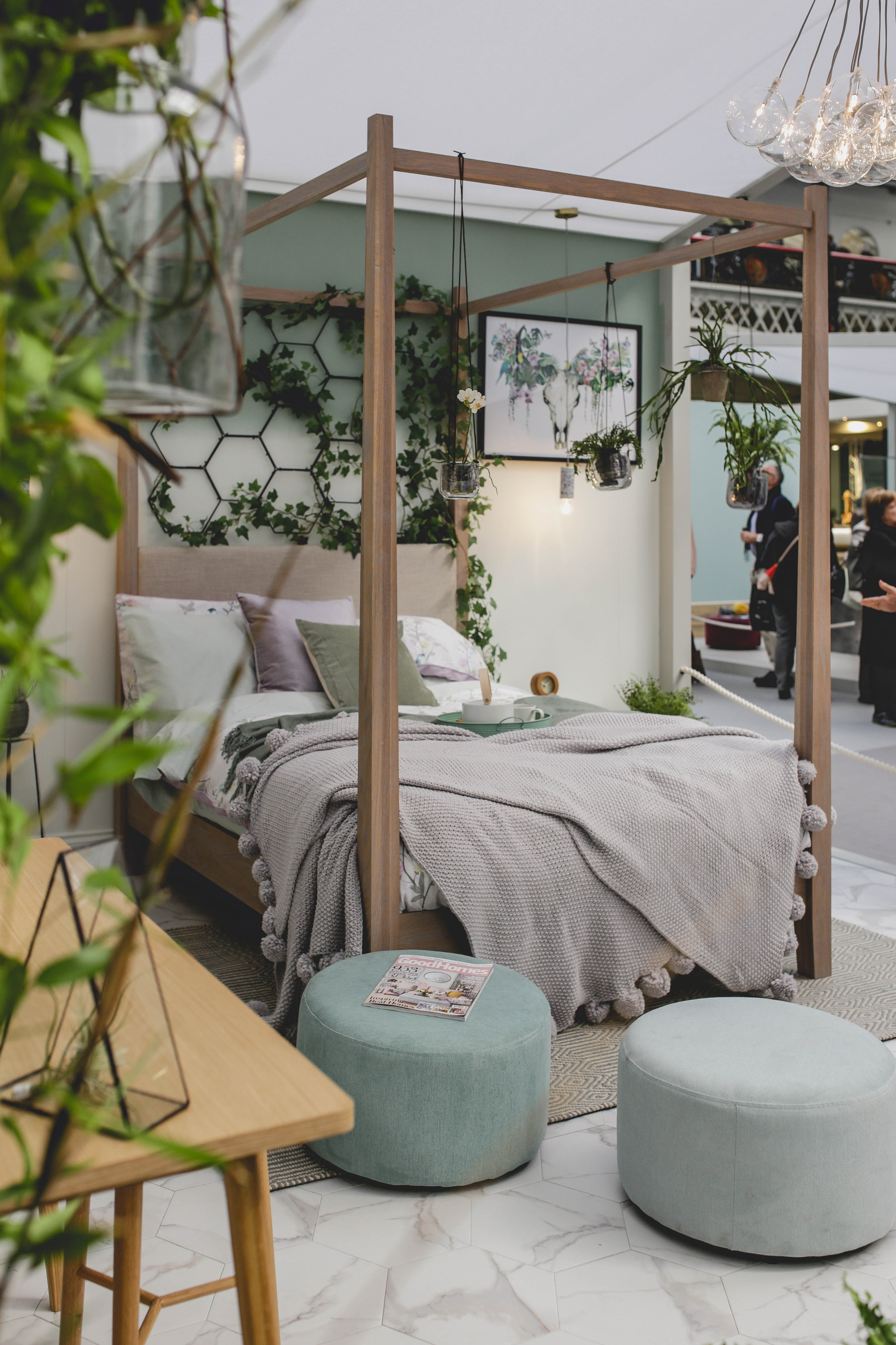 Botanical bedroom look at Ideal Home Show