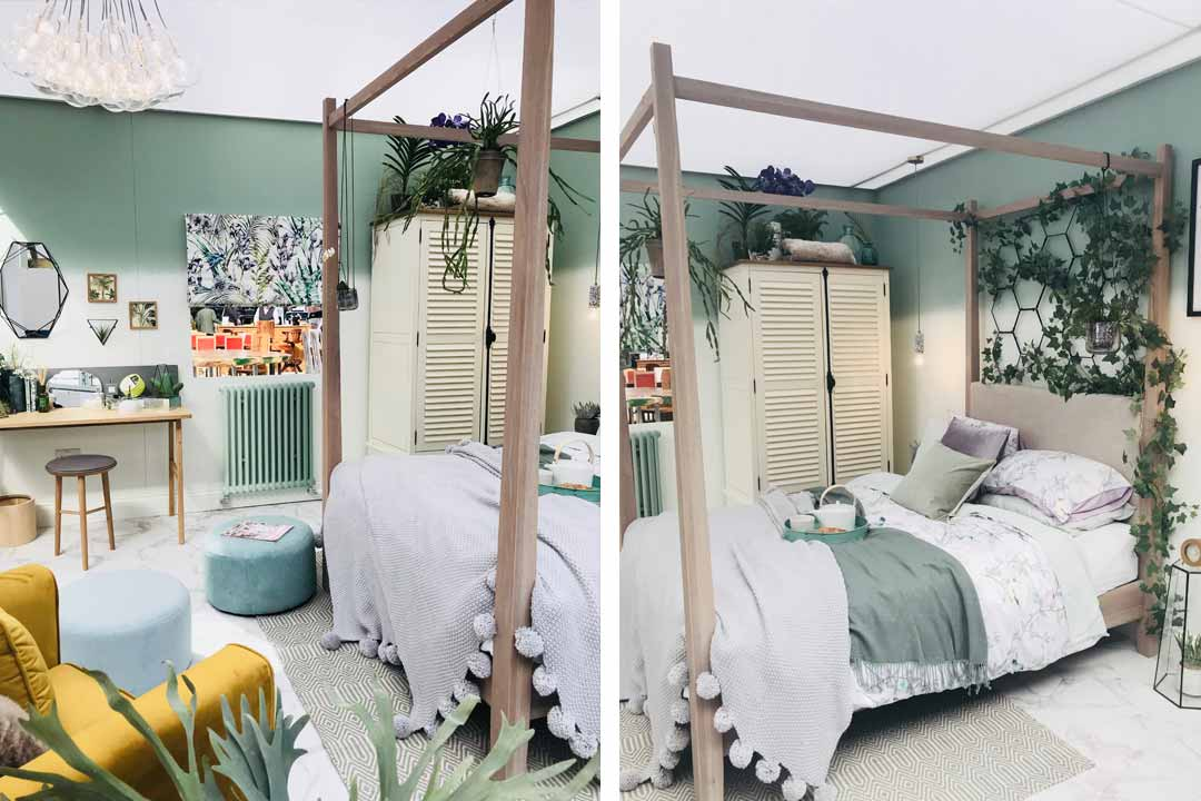 botanical bedroom look at the ideal home show
