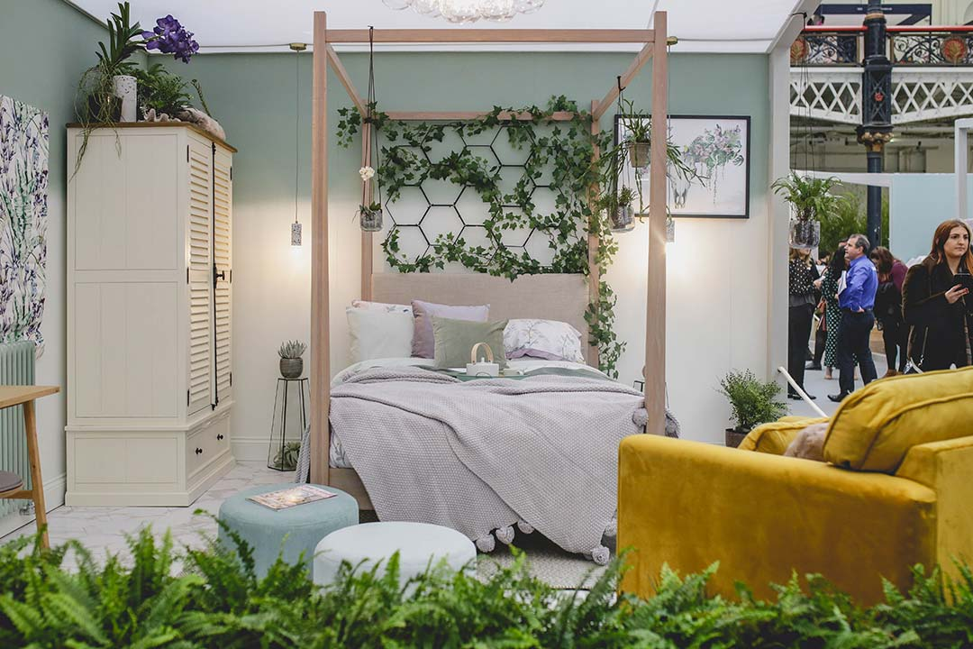 botanical themed bedroom at the ideal home show