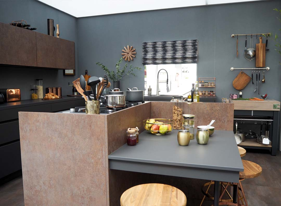 dark dramatic dining room look from the ideal home show