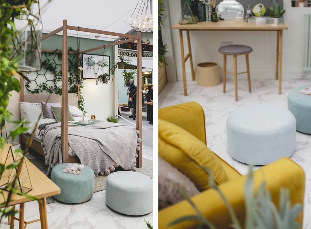 jasmine footstools in botanical bedroom at the ideal home show