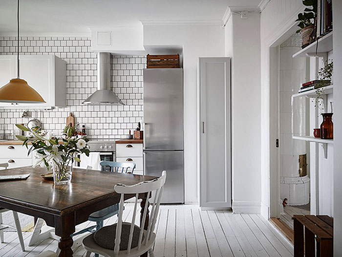 Scandi Black White Kitchen with Warm Accents