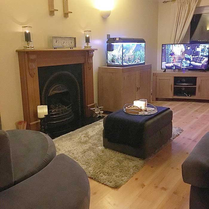 footstool, chest and tv cabinet in customer home