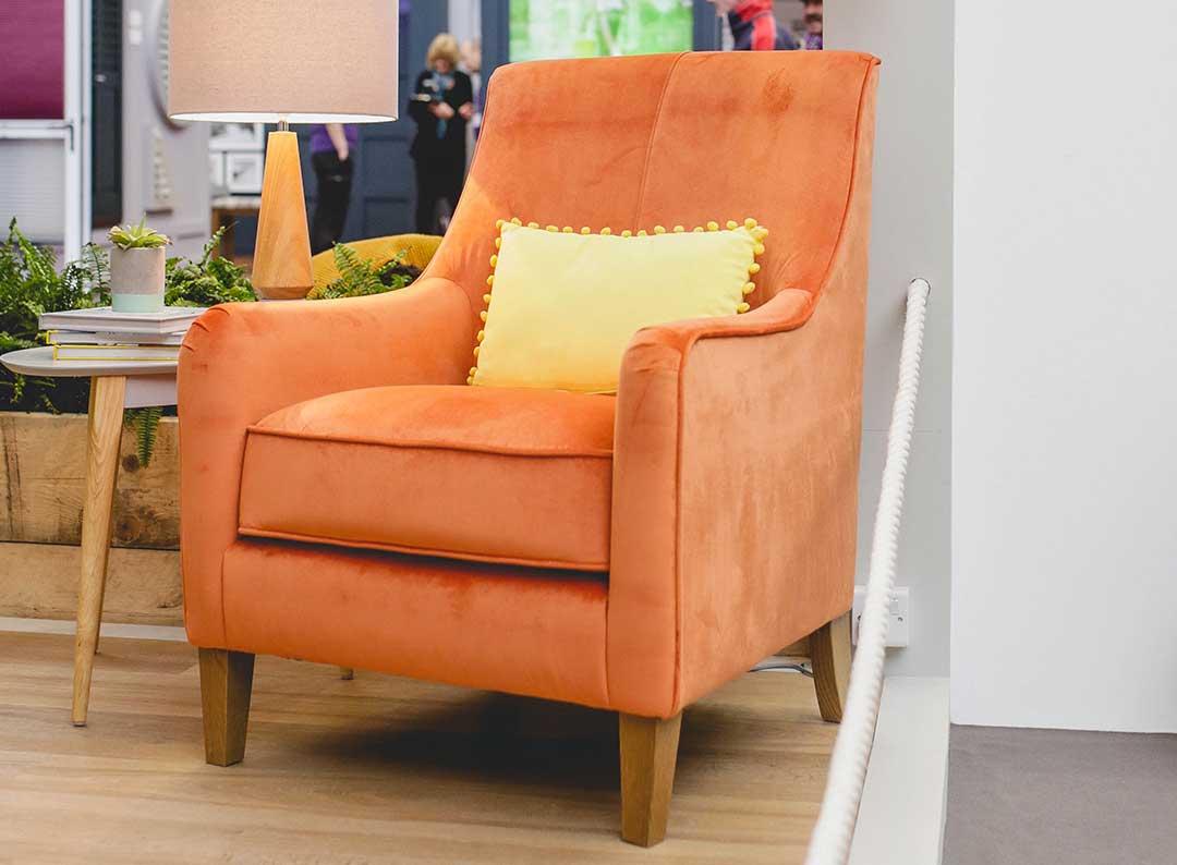 sydney orange velvet arm chair