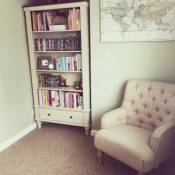shay bookcase in customer home