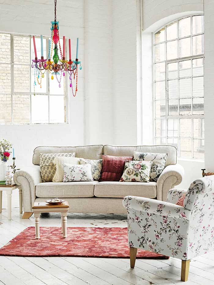 floral style living room look