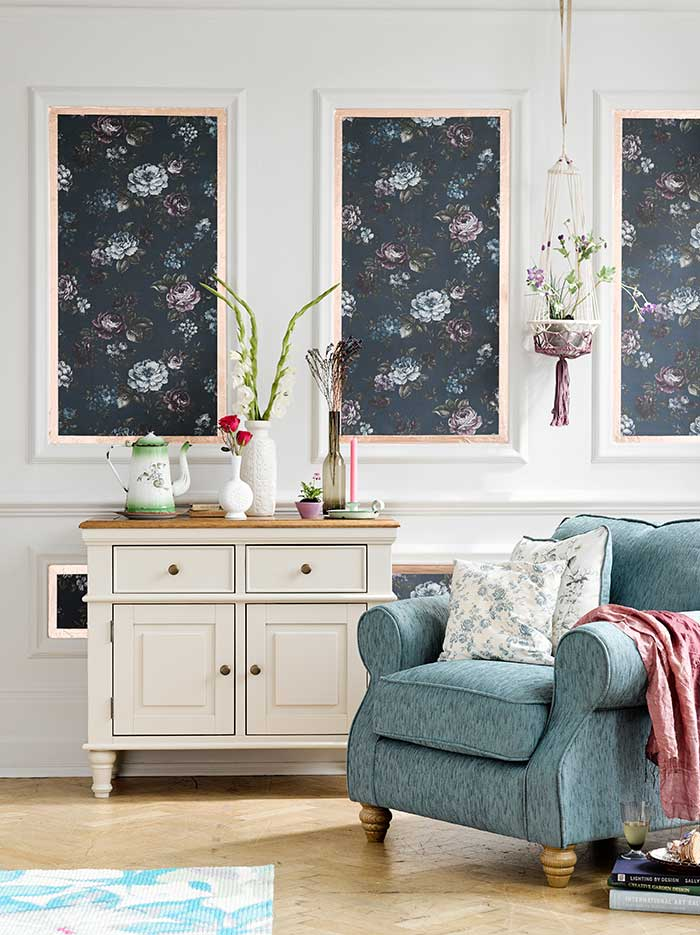 armchair and shay sideboard in floral decor