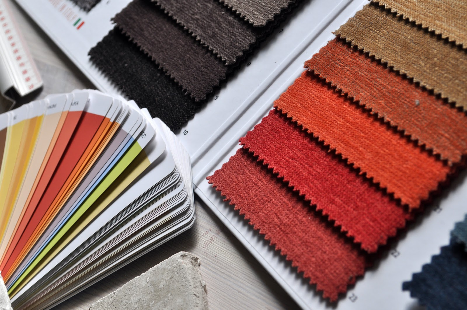 Fabric swatches in autumnal colours