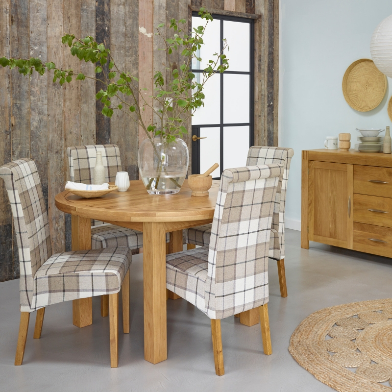 Checked dining chairs and table