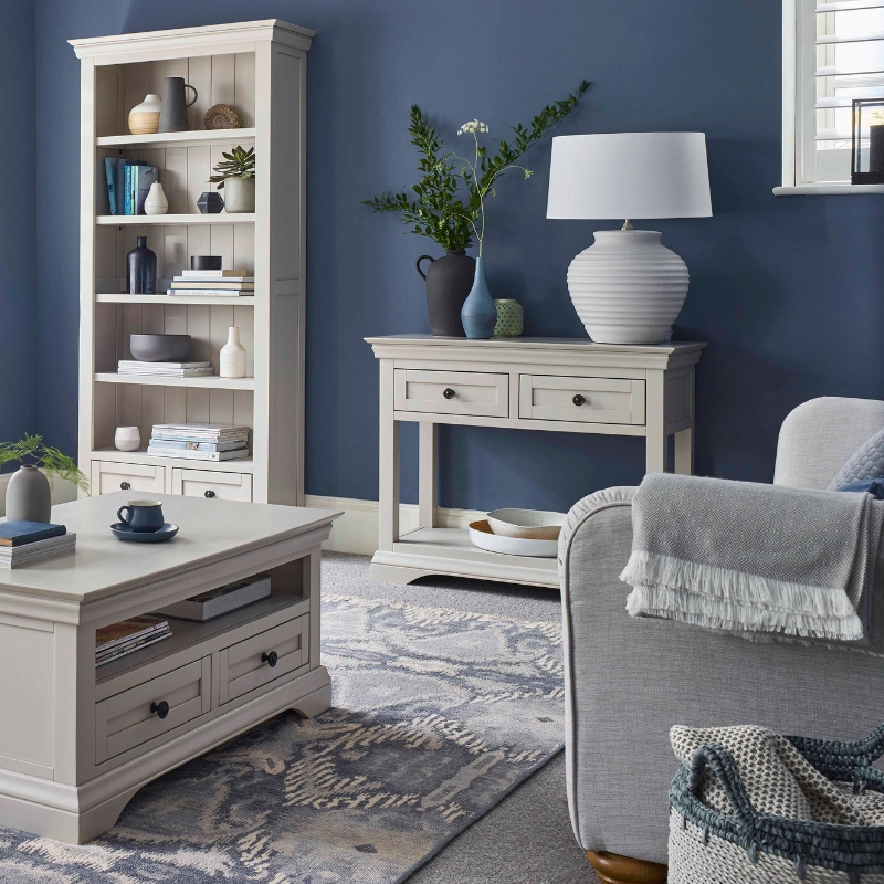 White painted living room furniture