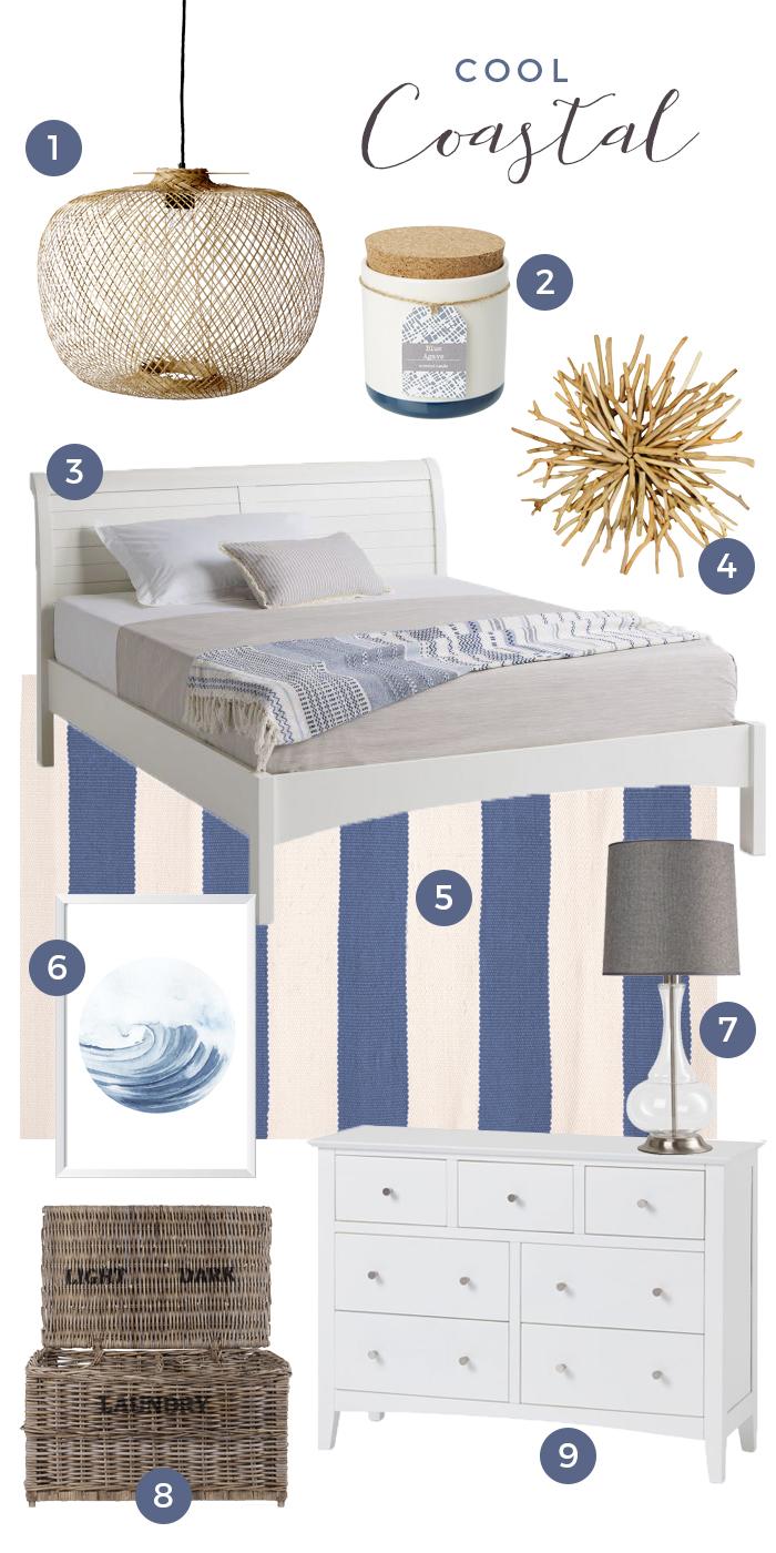 Shaker cool coastal furniture collage