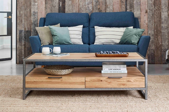 Brooklyn coffee table and blue sofa