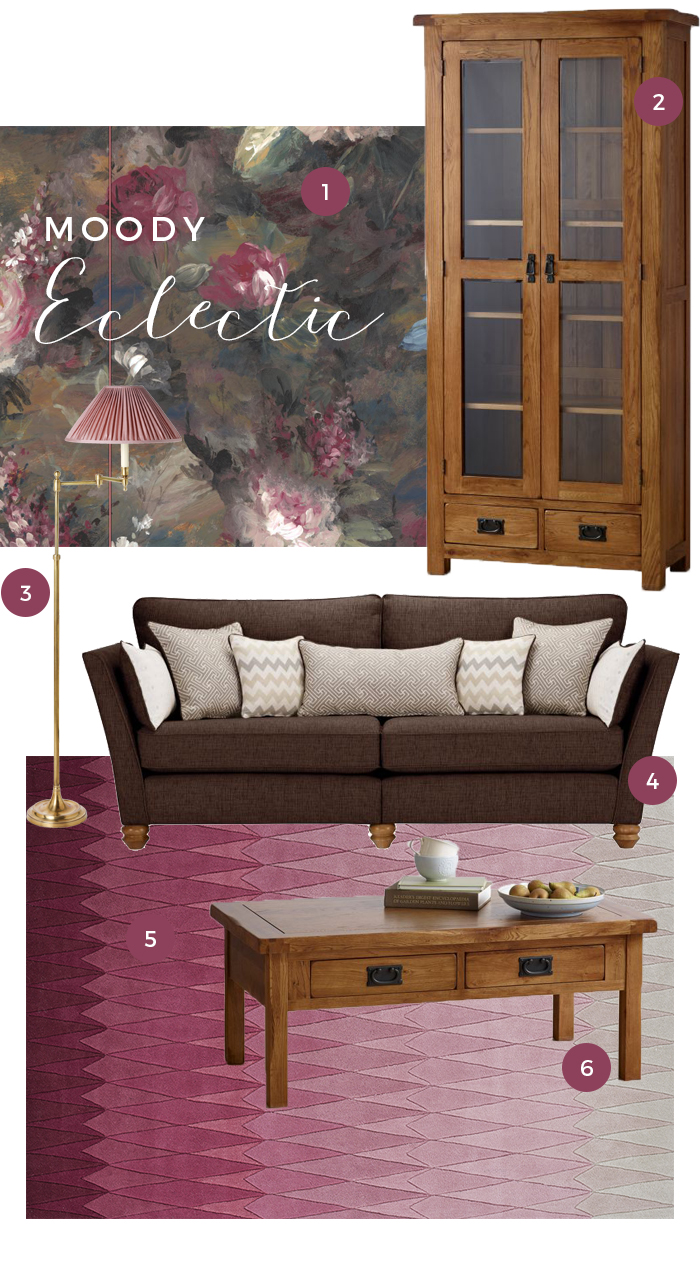 Dark coloured furniture style moodboard