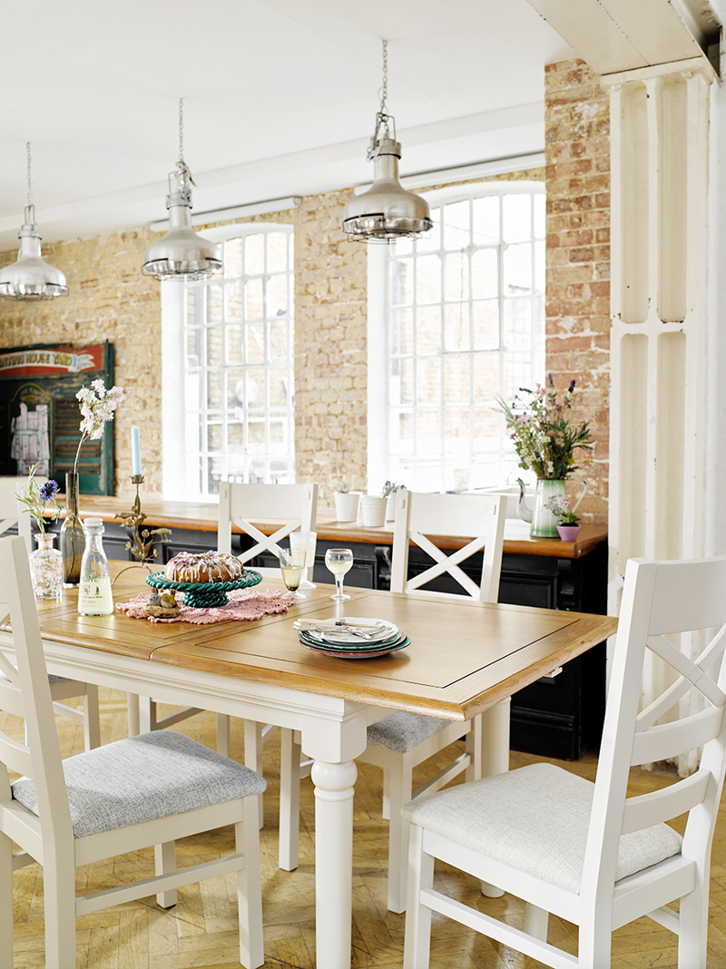 Shay Painted Dining table in brick walled kitchen