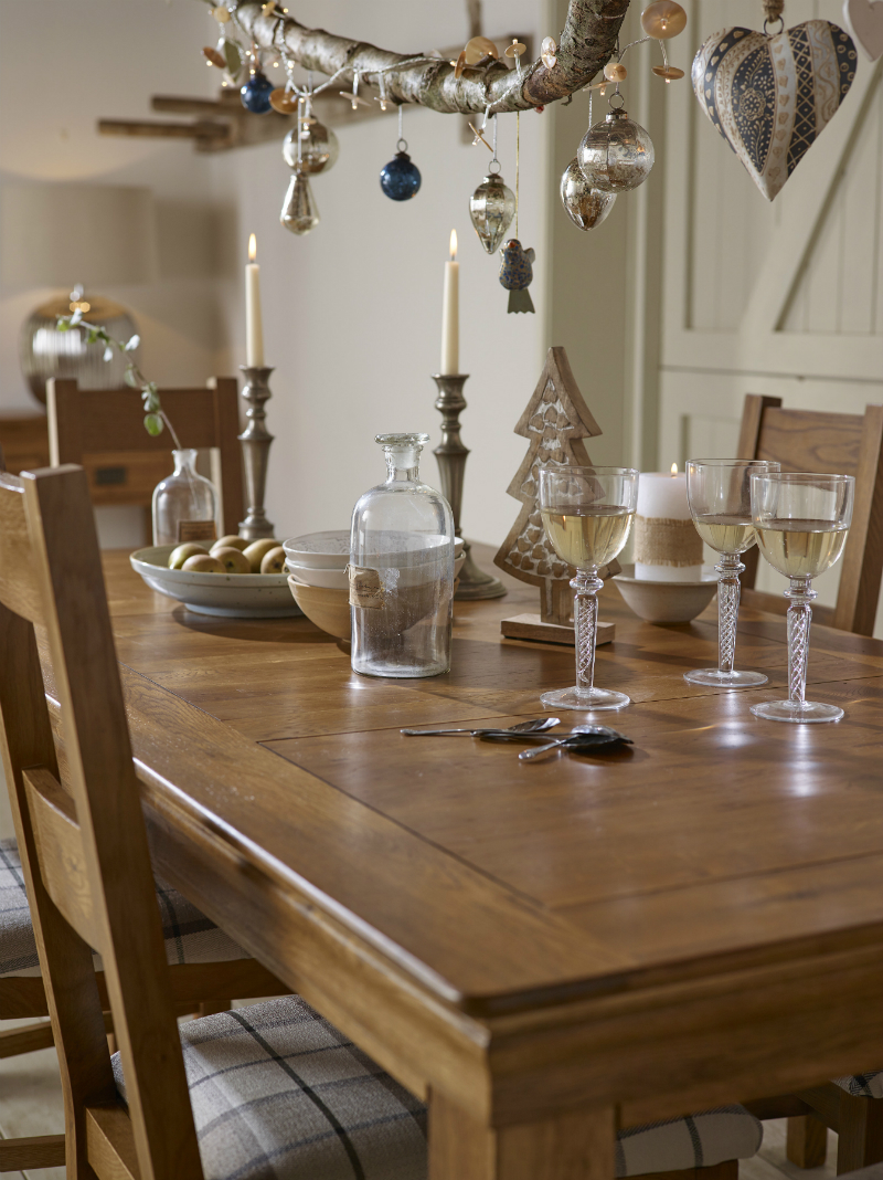 French Farmhouse extendable dining table set up for Christmas
