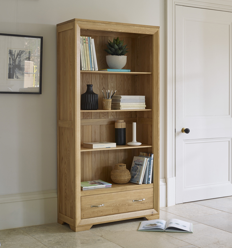 Bevel Bookcase with neutral accessories