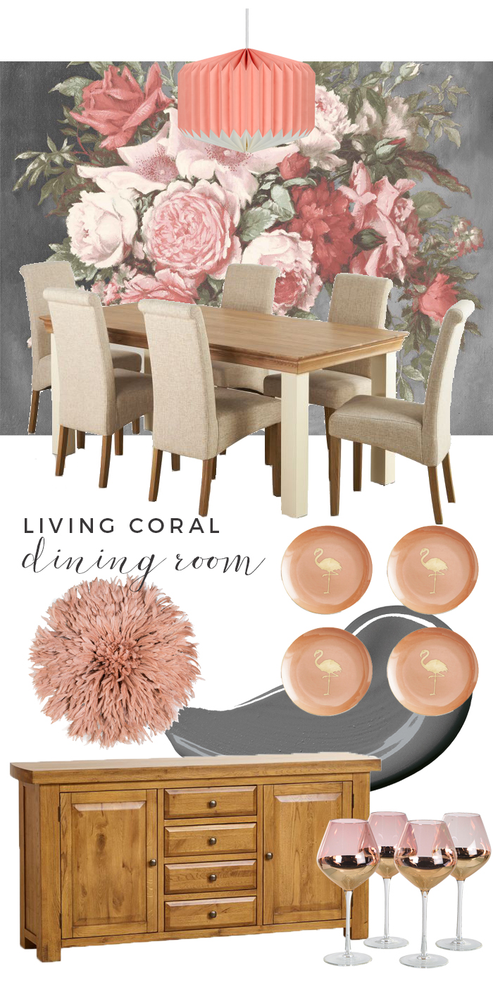 Living Coral Dining Room Moodboard