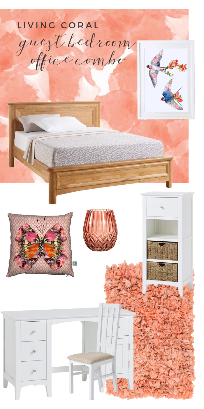 Living Coral Colour Bedroom & Office Moodboard