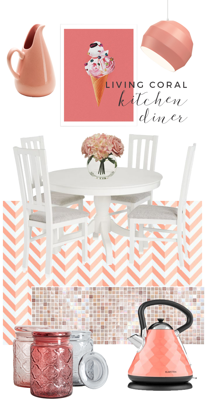 Living Coral Kitchen Diner Moodboard