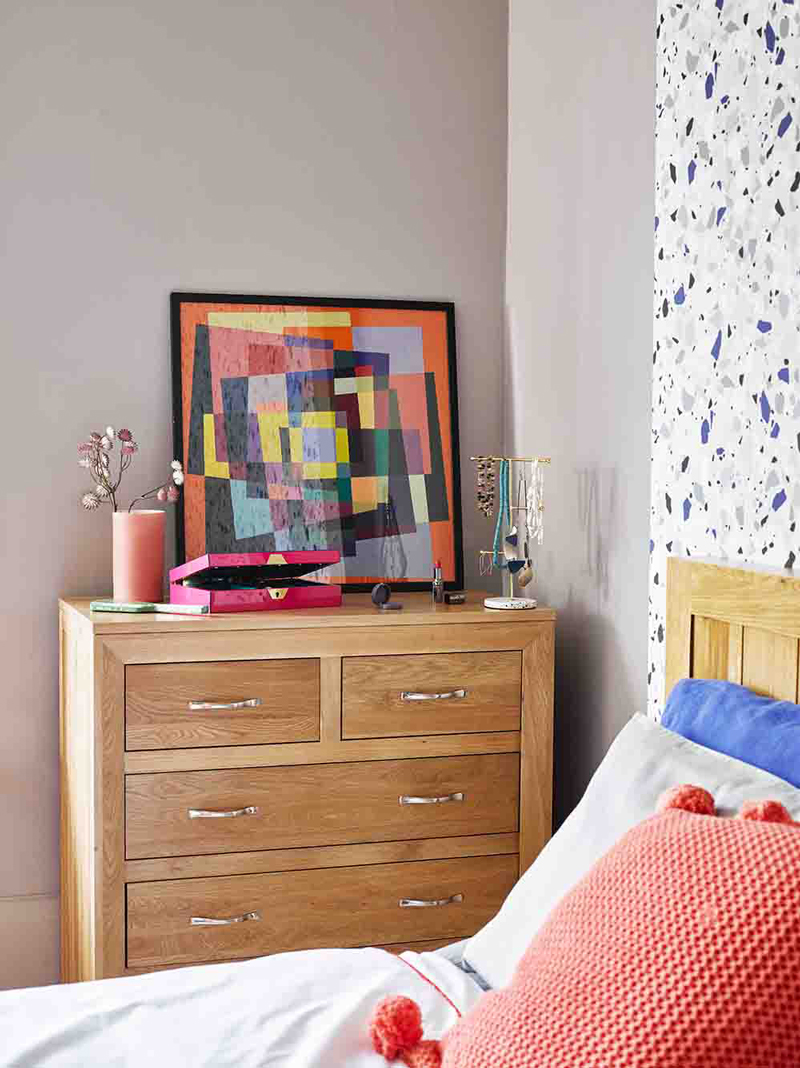 Wood Chest of Drawers in colourful bedroom