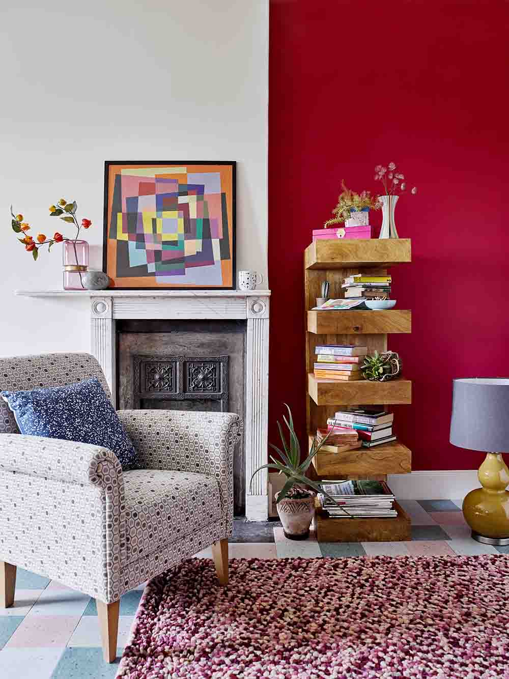 Red Wall, fireplace, abstract art