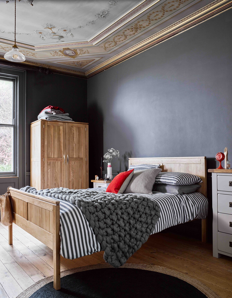 Oak Bedroom furniture with dark walls