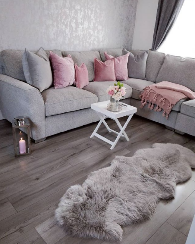 Sarah's ultra-stylish - and tidy! - grey and pink living room