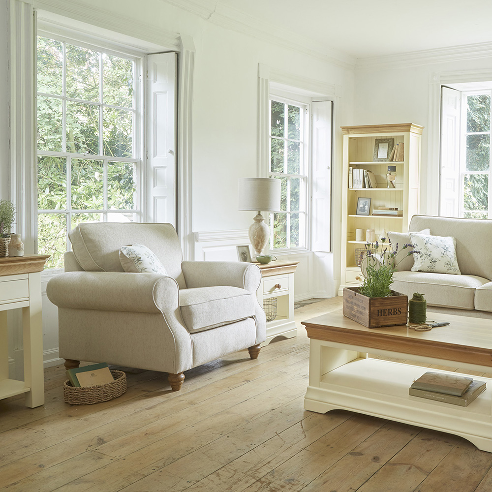 Beige living room chair in light room