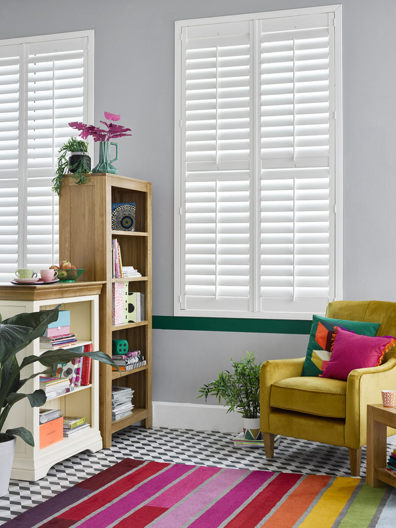 Living room with geometric flooring