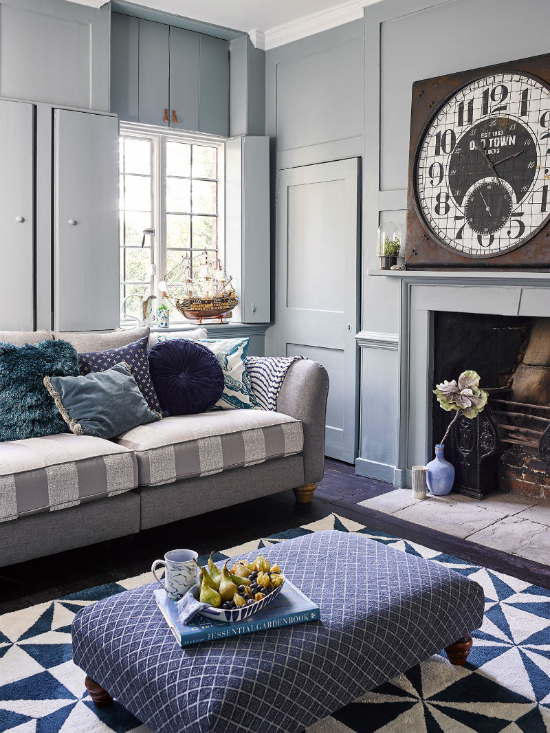 Grey blue nautical living room decor